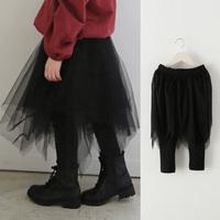 Retail 2015 grils spring autumn black leggings with Irregular skirt 526