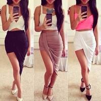 4325 Hot 13 barelegged multicolor color asymmetric irregular folds Slim Skirt