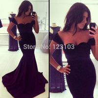 2015 hot-selling fashion black formal dress slit neckline evening dress