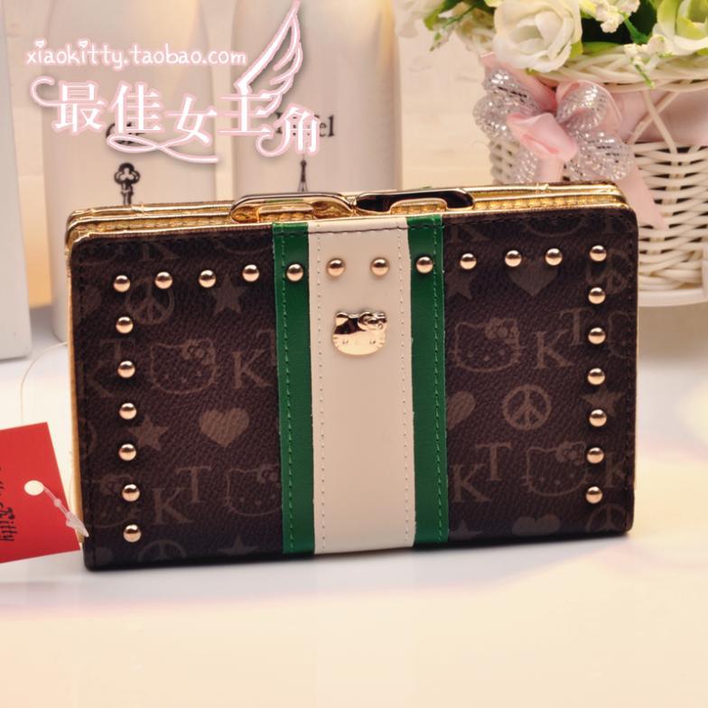 0 Genuine hello kitty purse FunkyDivas black metal buckle rivet fashion women's wallets(China (Mainland))