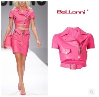 Free Shipping 2015 new european brand fashion women's barbie pink PU leather short jacket motorcycle crop top coat SML 3 colors