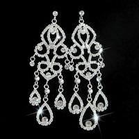 New Women Fashion Classic Style SWA Element Crystal Alloy Chandelier Drop Earrings Bridal Wedding Silver Ear Stud Jewelry LE1012