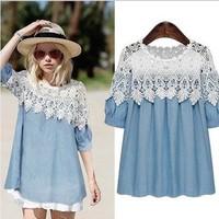 Summer Dress 2015 Plus Size Women Clothing Casual Patchwork Lace Dress HOT Sales Women Clothes L XL 2XL 3XL 4XL 5XL