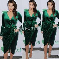 2015 New Top Quality green Kim kardashian women Dress