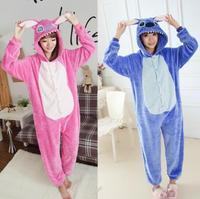 Unisex Adult Pink Blue Stitch Pajamas Animal Onesie One Piece Pyjamas Cosplay Costume Sleepsuit Gift Free Shipping