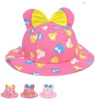 Cute Bow Cotton Flower Print Spring Baby Sun Hats With Ears Girls Bucket Hats Kids Hats Baby Beach Caps Children Visor QH00085