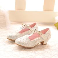 Female children wedding shoes girls dance shoes crystal princess high heels shoes girls rhinestone mary jane shoes