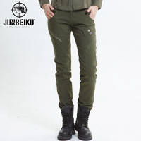 Army clothing female casual trousers slim Army Green outdoor casual pants