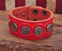 G112 Red Designer Metal Skull StudsRetro Leather Mens Wristband Bracelet Cuff