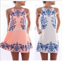 2015 New Fashion Chiffon Women Summer Dress Print China White Blue Ladies Dresses Tank Dresses Free Shipping
