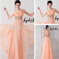 2014 Direct Selling New Arrival Beading Vestido De Renda Sa6845 Keyhole Back Flowing Long Chiffon Design Evening Dresses_bridalk