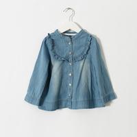 New 2015 arrivals girls denim shirt Boutique foreign trade kids denim blouses  6pcs/lot