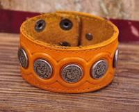 G112 Yellow Designer Metal Skull StudsRetro Leather Mens Wristband Bracelet Cuff