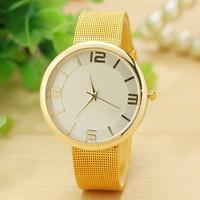 2 Colors New Fashion Women Dress Watch Gold & Silver Band Geneva Watch Ladies Quarzt Watch