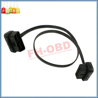 2015 Hot Selling Flat Thin As Noodle OBD2 16Pin ELM327 Male To Female Elbow Transfer Cable Light High Quality Free Shipping