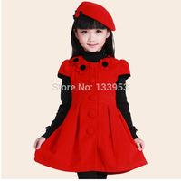 Fashion Wholesale 2015 Winter Autumn Dress Kids Clothes Girl's Casual Dress With Cap Red Short Sleeve Woolen Girl Dress DA613