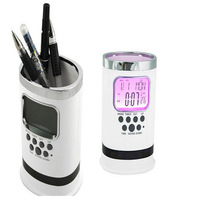 Multifunctional Desk Pen holder with LCD Color Changing backlight Natural Sound Clock, calendar,Thermometer&Timer