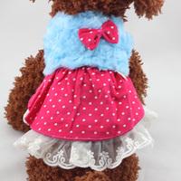 Puppy Pet Dog Cat Fleece Princess Tutu Dress Bow Polka Dots Dress Apparels Wholesale Free Shipping