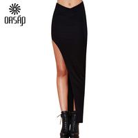OASAP Women High Times Maxi Skirt Saias Femininas Black Skirts Female Free Shipping