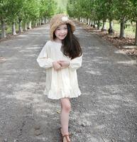 2015 Girls Spring Cotton Lace Solid Ruffles Dresses Princess Elegant Clothes Cream Wholesale,5 pcs/lot,