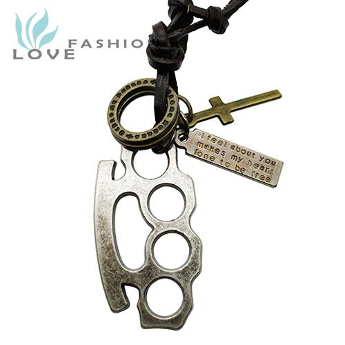 Wholesale 2015 new fashion fine jewelry men genuine leather copper alloy Brass Knuckle Cross vintage pendants