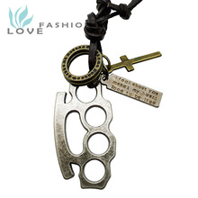 Wholesale 2015 new fashion fine jewelry men genuine leather copper alloy Brass Knuckle Cross vintage pendants necklaces MN017