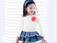 2015 New arrivals spring girls Korean knit cotton splicing denim dress  baby girls party dress 5pcs/lot