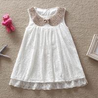 2015 summer new arrival dress girls lovely kids clothes sequins white lace dresses vestido de formatura 5pcs/lot wholesale