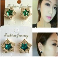 ES832 Hot Fashion 2015 New Pentagram earrings popular ladies wild temperament Wholesale Jewelry Accessories