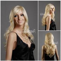 Usa Hot Wig 100% Kanekalon Women Long Blond Hair and Weaves Stock Good Wigs Elegance Fanshion Girls Lady Woman Hairpiece W3070