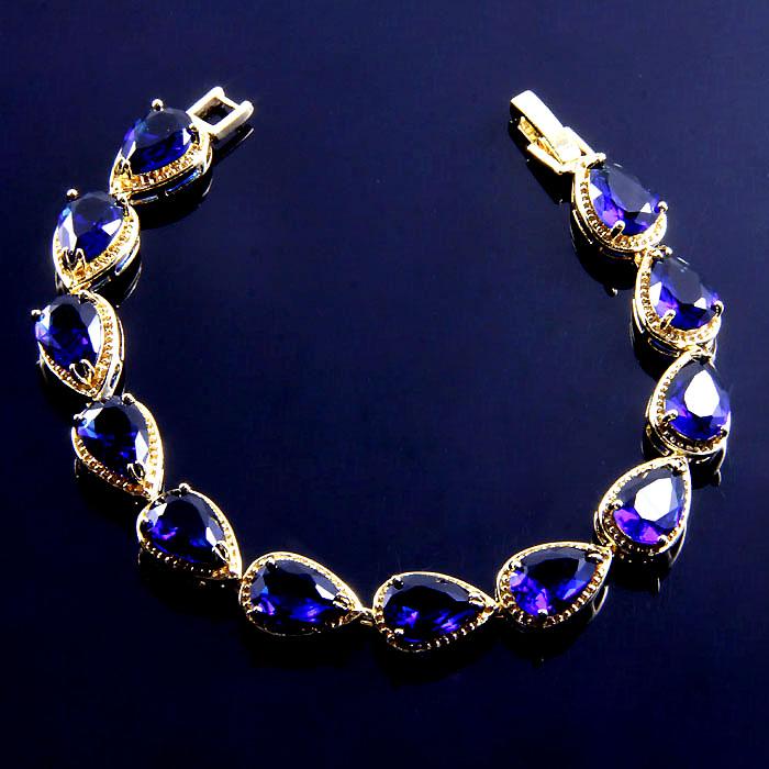 B108 size 18cm 18k gold plate JEWELRY classy fetching blue sapphire Bracelets EK0001-7(China (Mainland))
