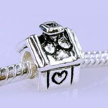 Fit Pandora 1Pc European Bead Charm Silver Heart Love House Bead Fit DIY Charm bracelets bangles