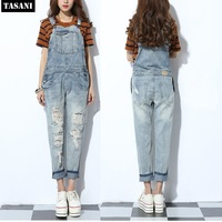 Fashion 2015 Slim Women Jeans Jumpsuits Casual Loose Hole Denim Pants Rompers Woman Overalls Free Shipping V5059