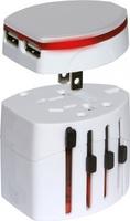 50pcs/lot Universal International Foreign Travel Adapter Adaptor Convertor with Dual (2) USB Port Plug