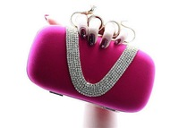 Women Snake Knucklebox Velour Evening Bags with Diamonds V Shape Beading Female Handbags Small Shoulder Bags with Chains Party