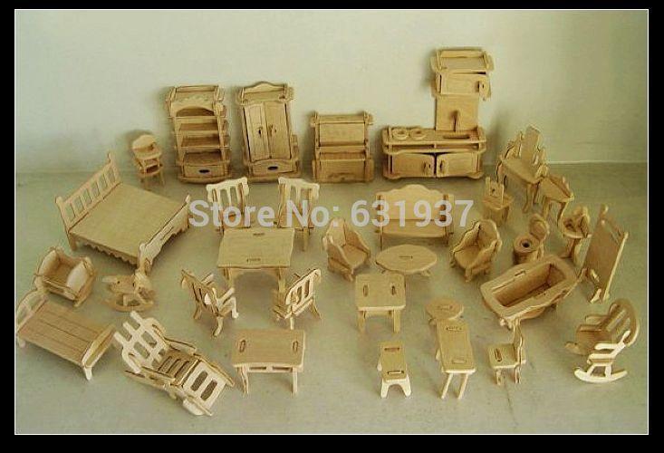 34 pcs /Set DIY 1:12 Doll House Mini Miniature Furniture  Educational Dollhouse Furniture Toy 3d Wood Puzzle Building Model Toy(China (Mainland))