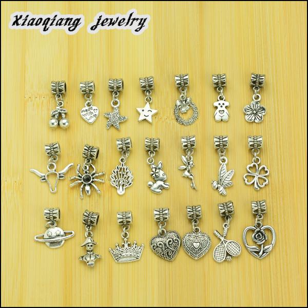 Free shipping 25pcs Mix Charm Tibetan silver big hole pendant fit Pandora charm bracelet DIY pendant