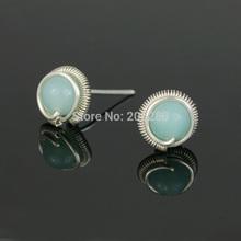 S99 silver stud earring female gem stud earring earrings handmade silver earrings(China (Mainland))