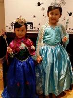 EMS DHL Free shipping Wholesale little girls kids Princess Elsa Anna Dance Dress + Cape Cosplay elsa anna clothing 100-140 10pcs
