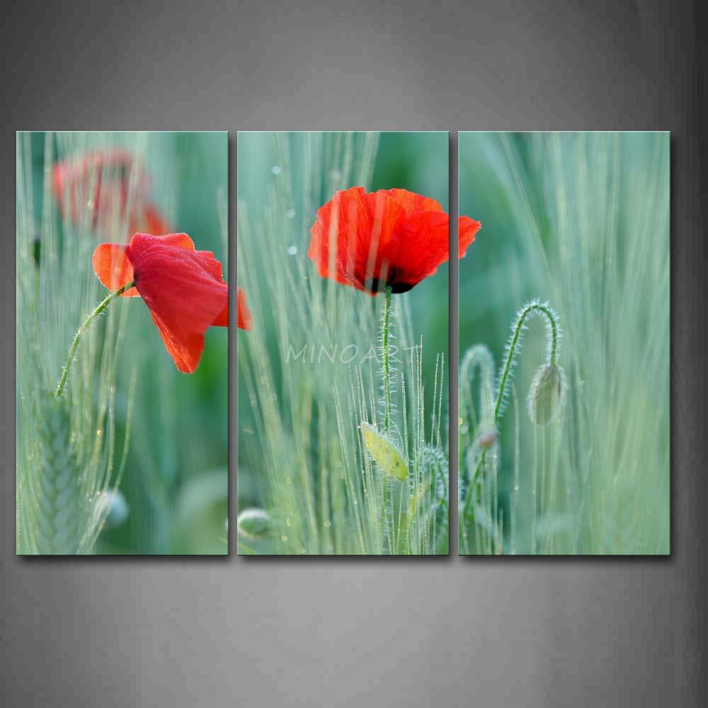 3 peça pintura arte linda papoulas em vermelho brilhante com folhas imagem impressão em tela flor 4 a imagem(China (Mainland))