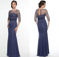 2015 Social Occasion Sheer O Neck Beads Crystals Long Chiffon Mother of the Groom Dress with 3/4 Sleeves Keyhole Open Back