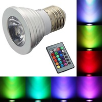 16 Color Changing 3W E27 RGB LED Light Bulb + Remote Control (No Battery)