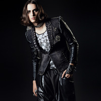 L-XXXL ! Men's brand hair stylist Bar black punk nightclub DJ stage tide suits denim jacket tide male singer costumes clothing