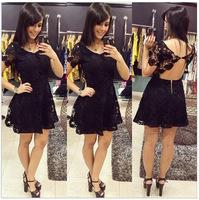 2015 Women Summer Lace Dress Vestidos Femininos Lady Lace Dresses Plus Size Fashion Sexy Black Slim Hip Bandage Tropical Dresses