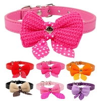 """PU Leather Dog Collars With Cute Bowknot  Red Pink Black Rose Purple Neck For 8-18"""""""