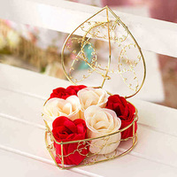 Wedding Decoration Flowers Soap Valentines's Day Wedding Gift Heart Shaped Roses Soap Party Supplies (6pcs/box) 4 boxes/lot