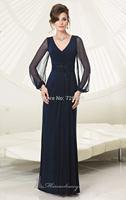 HYL New Noble Blue Chiffon Beadiing Woman's Formal Dresses Evening Dresses Long Sleeve Floor Length Prom Dresses Custom Size