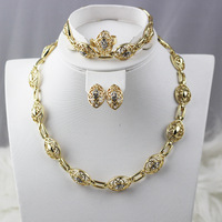 2015 Wedding Accessories Gold Plated rhinestone elegant jewellery Floating Charms Wholesale  Woman Costume African Jewelry Sets