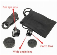 Hot sale! Universal 3 In 1 Clip-on Fish Eye Macro Wide Angle Mobile Phone Lens Camera kit 10sets/lot free shipping