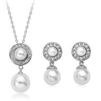 Set fashion elegant shell decoration pearl earrings necklace twinset -